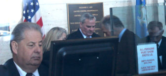 Former Gov. John G. Rowland inside the U.S. Courthouse in New Haven after arriving for his sentencing Wednesday.