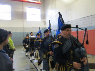 Department of Correction bagpipers and drummers opened and closed the dedication.
