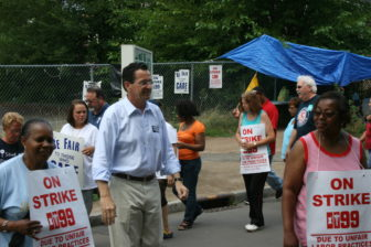 Gov. Dannel P. Malloy walked a picket line with 1199 in Hartford on primary day in 2010.