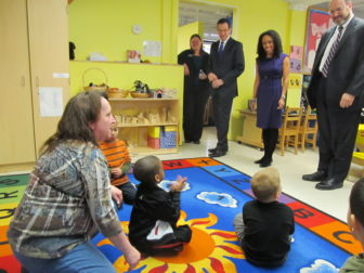 Gov. Dannel P. Malloy visits a preschool classroom in Meriden with his commissioner of the Office of Early Childhood.