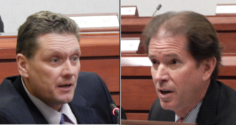 Rep. Russ A. Morin, D-Wethersfield, and Sen. L. Scott Frantz, R-Greenwich, members of the Finance, Revenue and Bonding Committee, debate tax proposals put forward by Democrats Wednesday.
