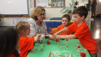 Education Commissioner Dianna Wentzell in a kindergarten classroom at an elementary school in Bristol.