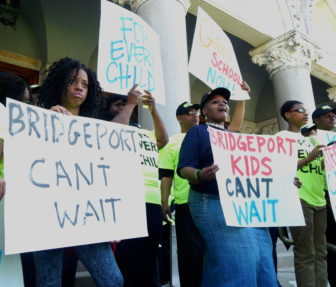 Supporters of a charter school in Bridgeport at Thursday's Capitol rally.