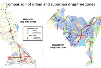 As the colored areas on the maps show, most of New Haven falls into a drug-free zone, where criminal penalties are higher.