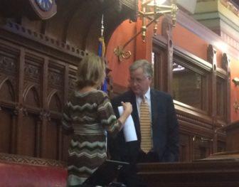 House Speaker J. Brendan Sharkey and House MInority Leader Themis Klarides discussing the House agenda Wednesday.