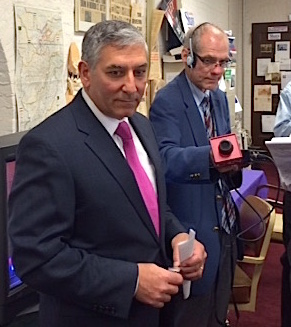 Senate Minority Leader Len Fasano talks with reporters.