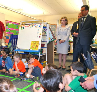 Education Commissioner Dianna Wentzell with Gov. Dannel P. Malloy in a kindergarten classroom at an elementary school in Bristol.