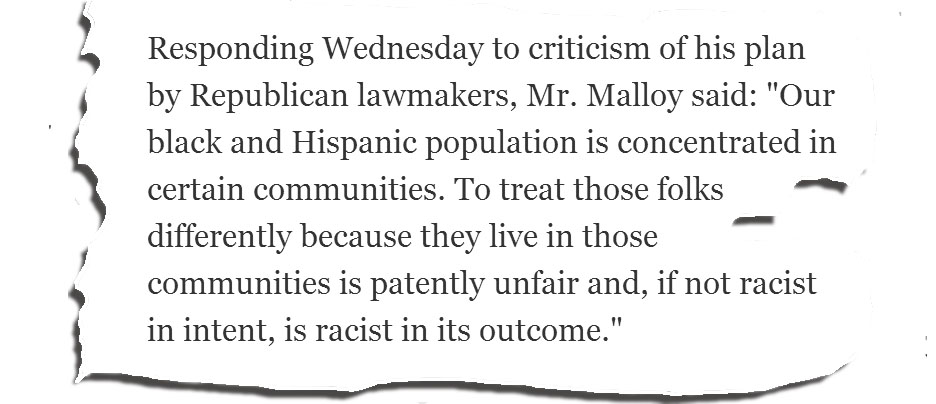 Malloy's 'racist in outcome' phrase expresses an historic truth