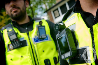Police wearing body cameras in the United Kingdom.
