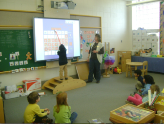 A preschool classroom at Whiting Lane Elementary School in West Hartford