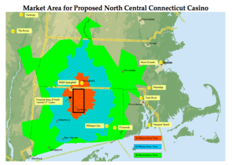 The tribes want a casino in north-central Connecticut. The map shows driving times: brown, 30 minutes; blue, 60 minutes; green, 90 minutes