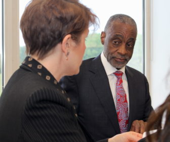 Bloomfield Supt. James Thompson Jr. during a meeting with his administrative staff. At left is Bethany Silver, the school system's director of assessment.