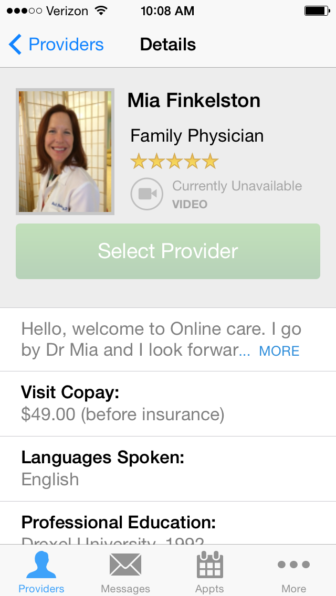 This is a picture of Dr. Mia Finkelston's profile page on the LifeHealth Online app. Patients can use it to choose a doctor licensed in their state.