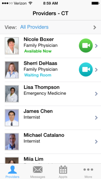 A list of doctors available to Connecticut patients through the LiveHealth Online app. None are based in Connecticut.