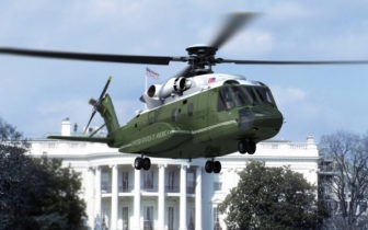 Marine One, the presidential helicopter, manufactured by Sikorsky.