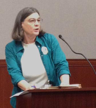 Jane McNichol, executive director the Legal Assistance Resource Center of Connecticut, speaks at the Republican forum on tax increase proposals.