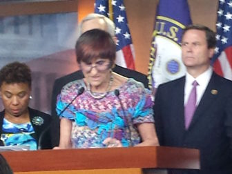 Rep.Rosa DeLauro speaks to reporters Tuesday.