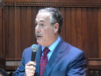 Rep. Jeffrey Berger, co-chaiir of the Finance, Revenue and Bonding Committee speaks during the budget debate.