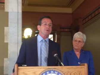 Gov. Dannel P. Malloy announcing proposed budget changes with Lt. Gov. Nancy Wyman.