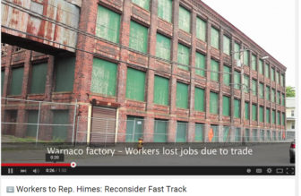 The abandoned Warnaco factory in Bridgeport featured in a video critical of  Rep. Jim Himes stance.