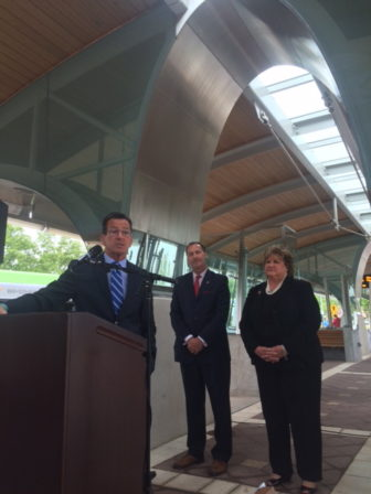 Gov. Dannel P. Malloy kicks off a transportation road show at the CT fastrak station in New Britain.