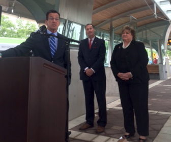 Gov. Dannel P. Malloy promotes his transportation initiative at the CT fastrak station in New Britain.