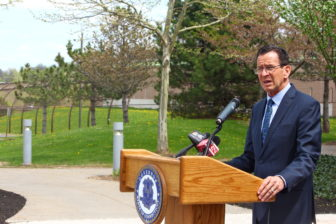 Gov. Dannel P. Malloy outside the entrance of the Connecticut Juvenile Training School in Middletown, a locked jail for young males that break the law.