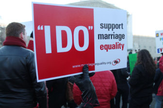 Gay marriage advocates and opponents have been demonstrating outside the Supreme Court periodically for years. They were there Tuesday as well.