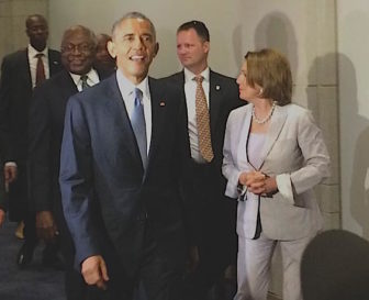 President Obama at the Capitol Friday to push for his trade legislation. House Minority Leader Nancy Pelosi is on the right.