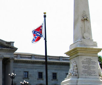 The Confederate battle flag flying outside the state capitol in Columbia, S.C.