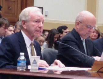 Former Connecticut U.S. Sen. Joseph Lieberman testifies on the Iran nuclear agreement before a U.S. House committee Tuesday. On the right is retired general Michael Hayden, former director of the CIA and the National Security Agency.