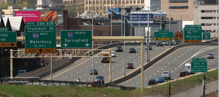 Interstate 91 approaching Hartford.