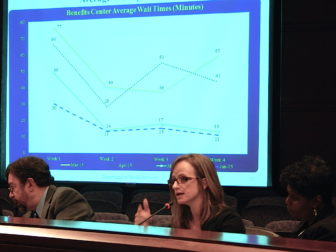 Melissa Garvin details a drop in average phone wait times at the Department of Social Services.