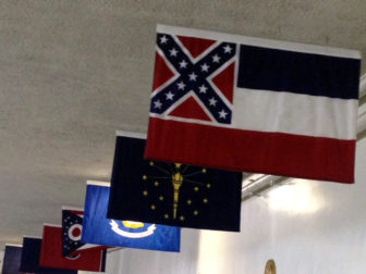 A Mississippi state flag hanging in the U.S. Capitol.