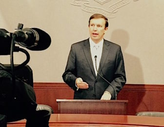 U.S. Sen. Chris Murphy discusses the Iran nuclear pact at a press conference at the Legislative Office Building in Hartford Friday.