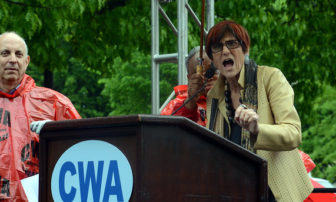 U.S. Rep. Rosa DeLauro, D-3rd District, speaks against the Trans Pacific Partnership fast track bill at a rally held a year ago by organized labor. He spoke against it again on Monday.