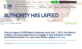 Visitors to the Export-Import Bank homepage get a message saying the bank cannot engage in any new business.
