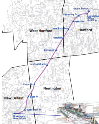 CTfastrak's route from New Britain to Hartford.