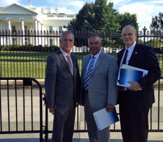 Hartford Mayor Pedro Segarra, left, outside the White House with Bishop Jeremiah Torres and Police Chief James Rovella, right.
