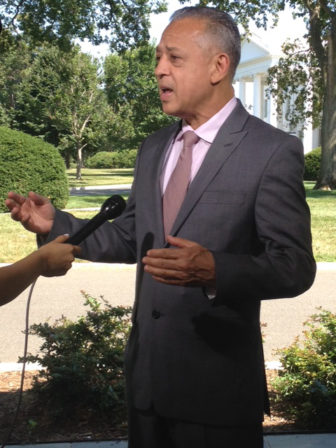 Hatford Mayor Pedro Segarra in Washington being interviewed after the community policing conference.