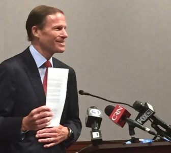 Sen. Blumenthal holds a letter he sent Tuesday to the president of West Virginia University.
