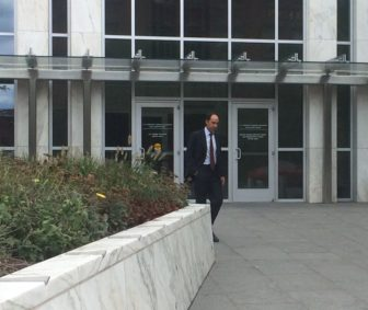 George Gallo leaving court after being sentenced in a campaign kickback case.