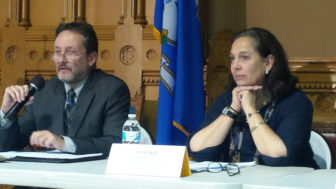 Stephen Grant of the Judicial Branch's Court Support Services Division and Joette Katz, the commissioner of the Department of Children and Families