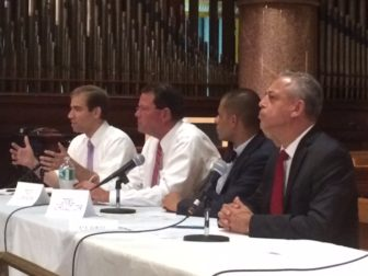 Luke Bronin, at left, and Mayor Pedro Segarra, at right, at a arts forum with Republican Ted Cannon and independent Joel Cruz Jr.