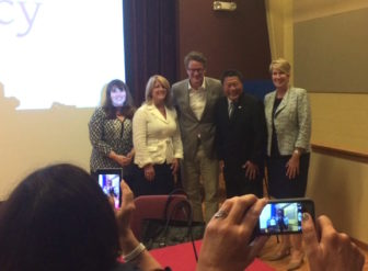 Joe Scarborough with his fellow panelists Suzanne Bates, Rep. Brenda Kupchick, Sen. Tony Hwang and Rep. Laura Devlin.