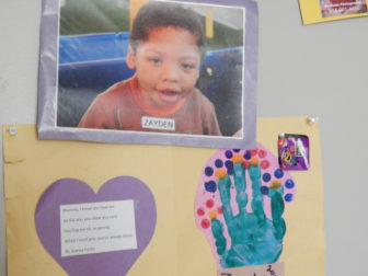 Pictures of Karell Richards' son Zayden on the wall of their Vernon home