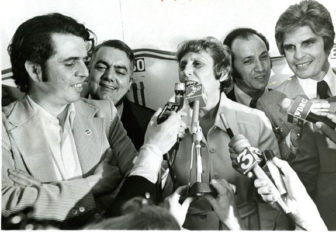 Nick Carbone, at left, joins other supporters of gubernatorial candidate Ella Grasso after her 1974 primary victory. From left are Carbone, Hartford Mayor George Athanson, Grasso, Tom Sampognaro and William DiBella.