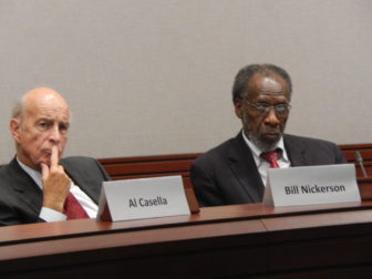 State Tax Panel co-chairs William Nickerson and William Dyson (left to right, name plates don't match individuals because of photo angle)