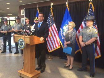 Gov. Dannel P. Malloy celebrated the release of FBI crime statistics.