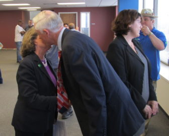 Mayor Bill Finch kisses Mary-Jane Foster before endorsing her candidacy.